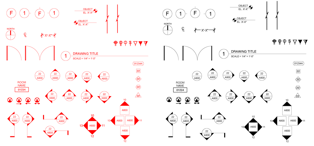 Architectural Symbols in Red and Black